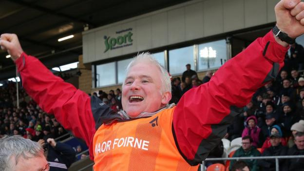 Rockcorry manager Mickey Morgan shows his delight after the Monaghan team beat Faughanvale 3-10 to 0-9 in the Junior final at the Athletic Grounds