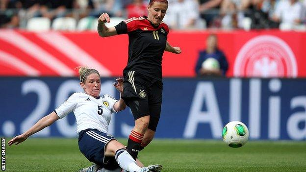 Leanne Ross (left) in action for Scotland against Germany