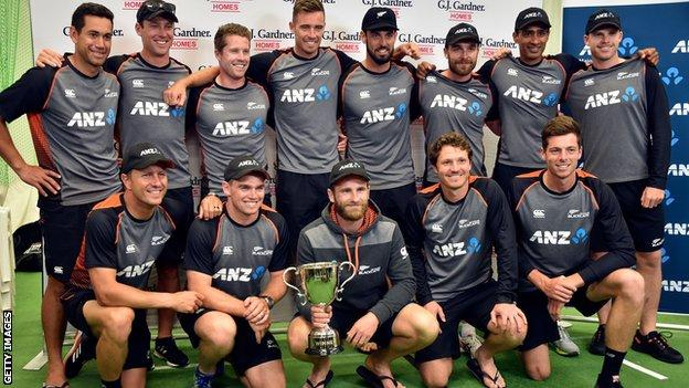 New Zealand celebrate their 1-0 Test series win