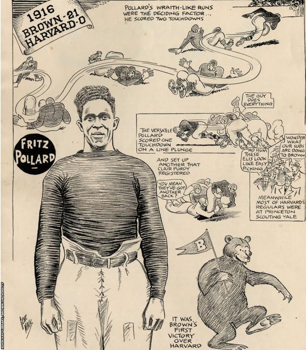 A 1916 illustration describes scenes from a Brown-Harvard game in which Pollard played a key role