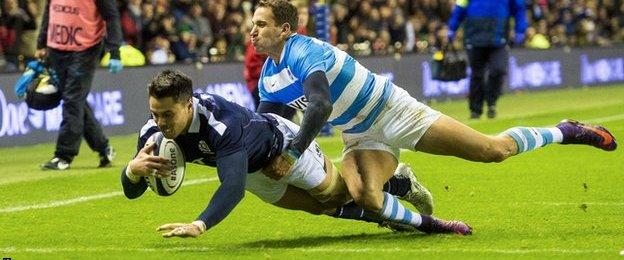 Sean Maitland scores for Scotland