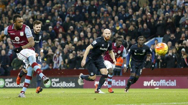 Jordan Ayew's second-half penalty equaliser earned Villa their fourth point under Remi Garde against West Ham on Boxing Day