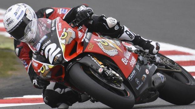 Glenn Irwin was third in the second race of the opening round of the 2017 British Superbikes Championship