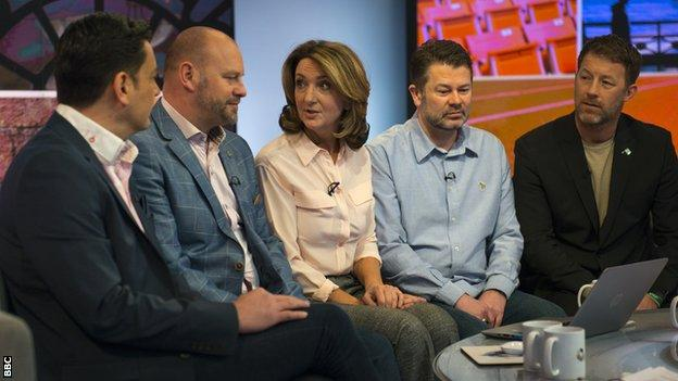 (left to right) Andy Woodward, Chris Unsworth, Victoria Derbyshire, Gary Cliffe and Steve Walters