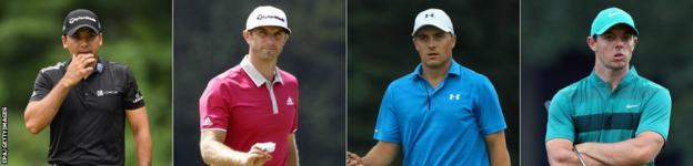 Jason Day, Dustin Johnson, Jordan Speith and Rory McIlroy