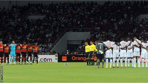 At the tournament's opening match, Angola and Mali players observed a minute of silence