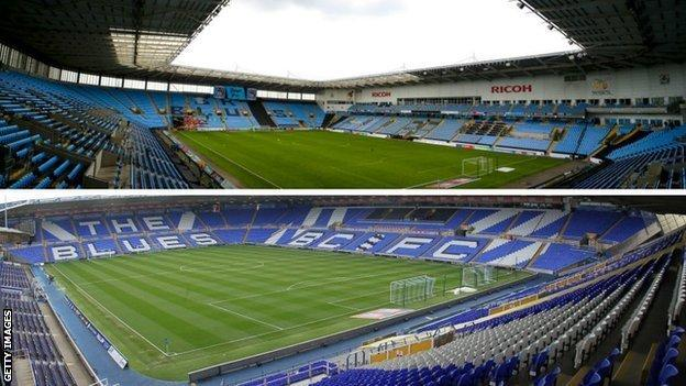 Coventry are currently spending a second season away from the Ricoh Arena (above) to play their home games in Birmingham at St Andrew's