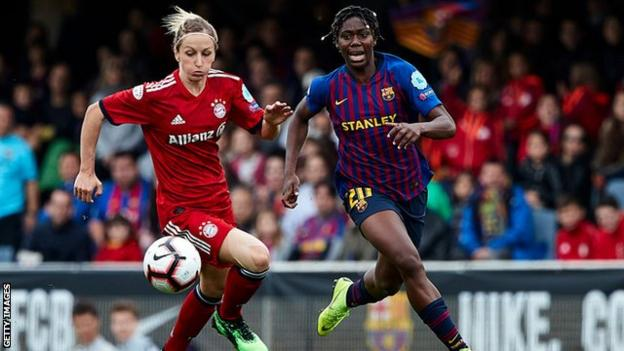 Asisat Oshoala playing for Barcelona against Bayern Munich in the Women's Champions League