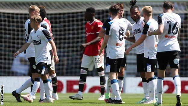 Derby had only nine registered senior players for Sunday's pre-season friendly with Manchester United, at Pride Park