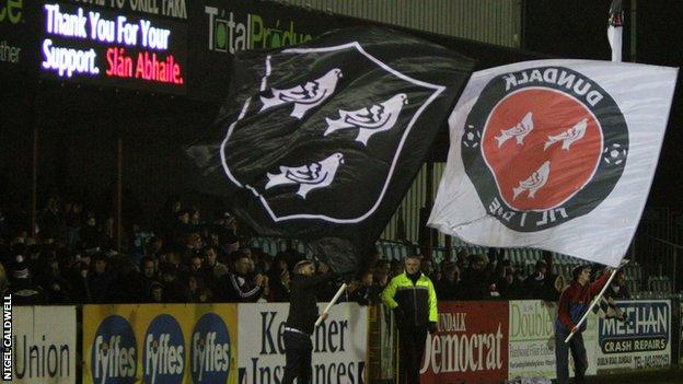 Dundalk fans at the club's Oriel Park ground