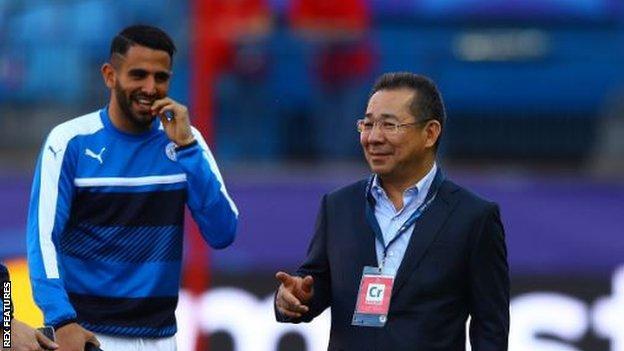 Riyad Mahrez and Leicester owner Vichai Srivaddhanaprabha