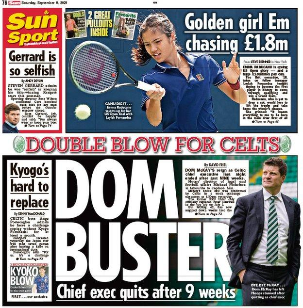 The back page of the Scottish Sun on 110921