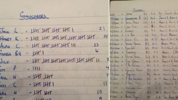 An old text book with football fixtures and top scorers