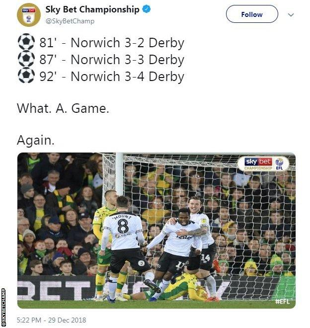 FT at Norwich 3-4 Derby