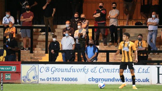 A socially-distanced crowd as Cambridge United host Fulham Under 21s in the EFL Trophy