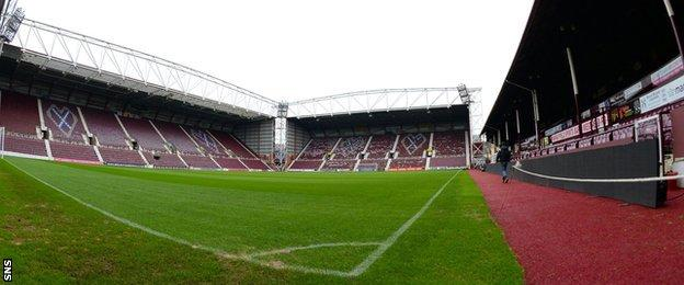 A general view of the inside of Hearts' Tynecastle Stadium