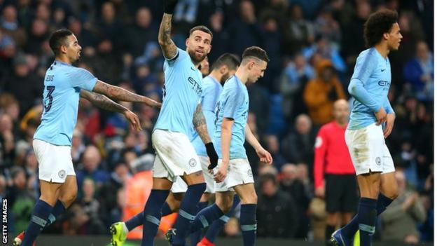 Nicolas Otamendi celebrates scoring for Manchester City against Rotherham United in the FA Cup