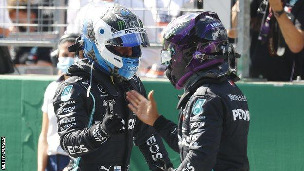 Vallteri Bottas and Lewis Hamilton