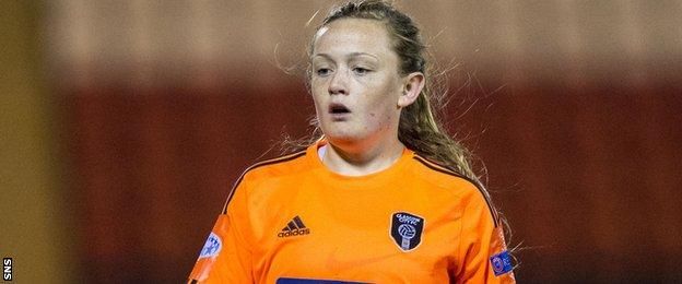 Erin Cuthbert in action for Glasgow City against Chelsea in the Champions League last season
