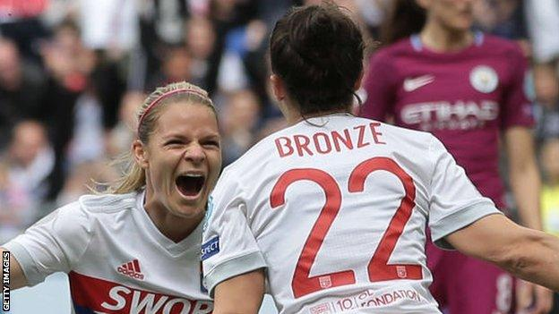 Bronze celebrates her Champions League semi-final goal with last year's Women's Footballer of the Year winner and Lyon team-mate Ada Hegerberg