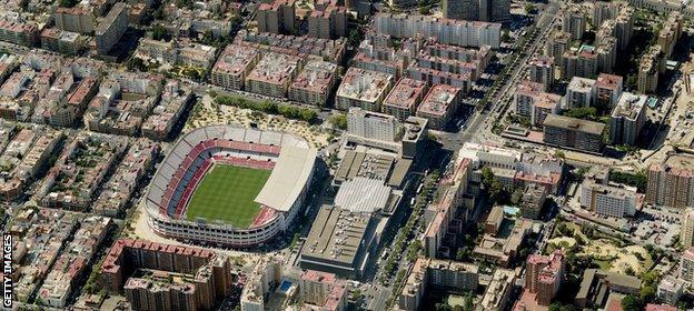 Aerial view of Ramón Sánchez Pizjuán Stadium