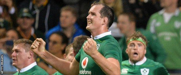 Devin Toner's reaction at the final whistle as Jamie Heaslip appears astonished by the achievement