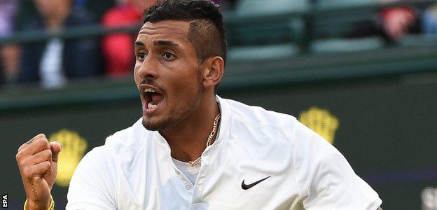 Nick Kyrgios celebrates during his match against Feliciano Lopez