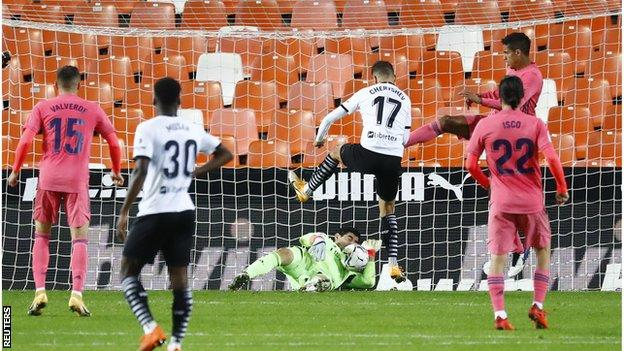 Valencia go 2-1 up against Real Madrid thanks to an own goal by Raphael Varane