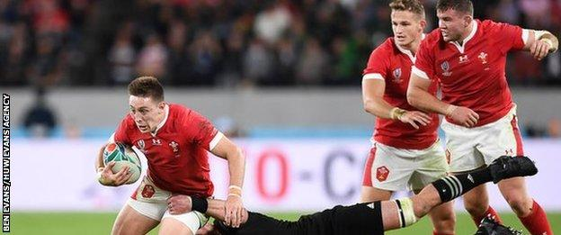 Wing Josh Adams' score against New Zealand brought his 2019 World Cup tally to seven, beating Shane Williams' single tournament Wales record