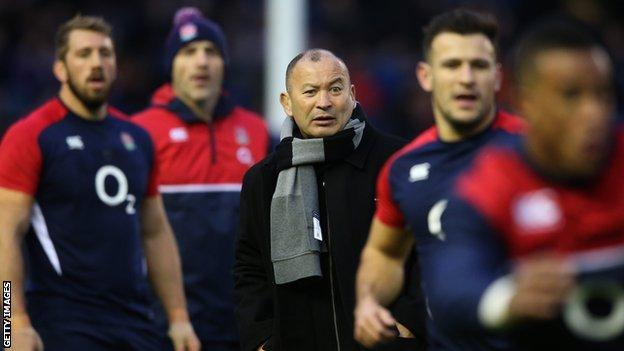 England head coach Eddie Jones watches his new players