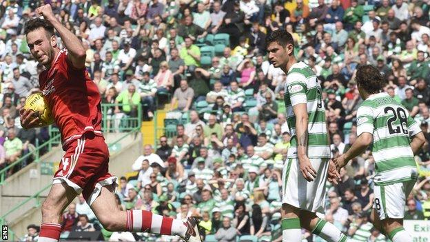 Andy Considine celebrates after scoring for Aberdeen against Celtic