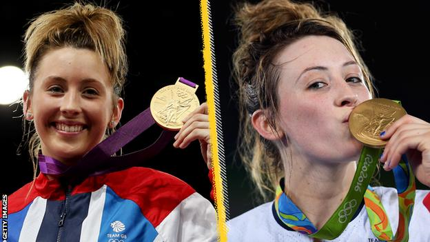 Jade Jones with her London 2012 medal (left) and Rio 2016 medal (right)