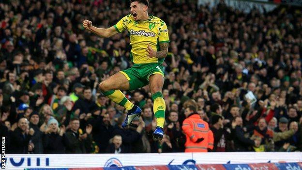 Ben Godfrey celebrates scoring Norwich City's opening goal against Nottingham Forest