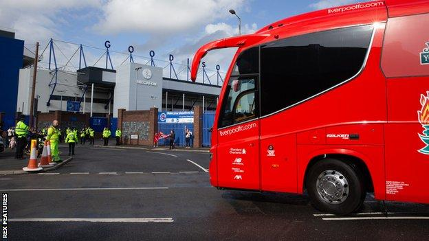 There were few fans present when the Liverpool team coach arrived at Goodison Park for the Merseyside derby