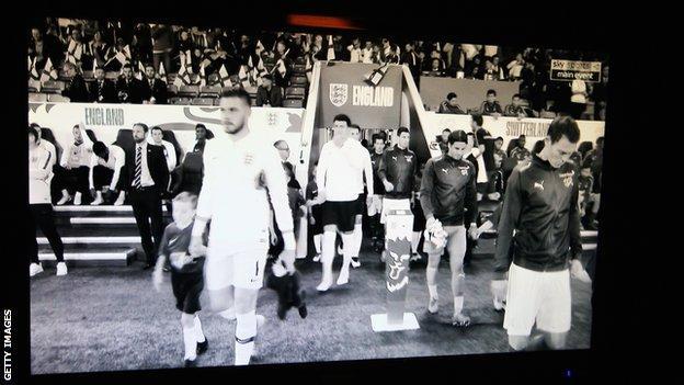 England v Switzerland in black and white