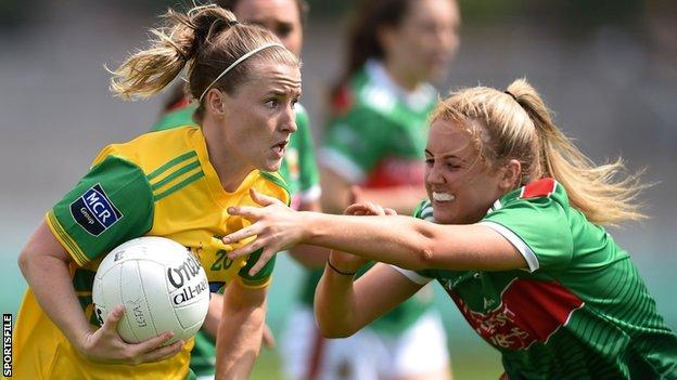 Niamh McLaughlin battles with Mayo's Éilis Roynane in last summer's All-Ireland Championship game