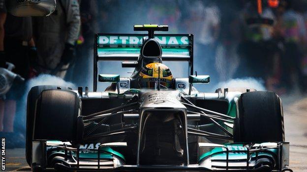 Lewis Hamilton at Indian Grand Prix in 2013