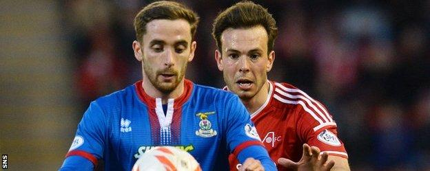 Nick Ross (left) in action for Inverness Caledonian Thistle