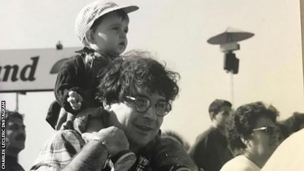 Charles Leclerc as a baby with his father Herve