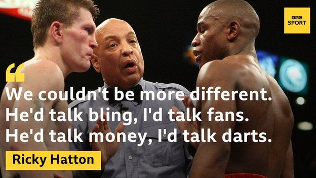 Ricky Hatton and Floyd Mayweather face each other in the ring