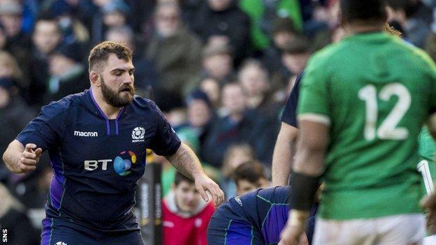 Jamie Bhatti in action for Scotland against Ireland