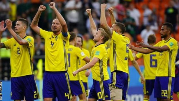 Sweden's players celebrate at the 2018 World Cup