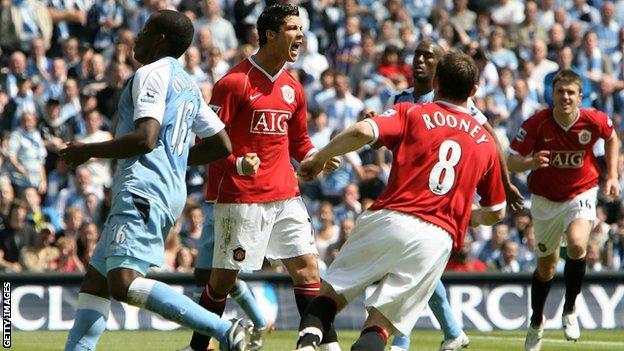 Ronaldo celebrates scoring against Manchester City in 2007