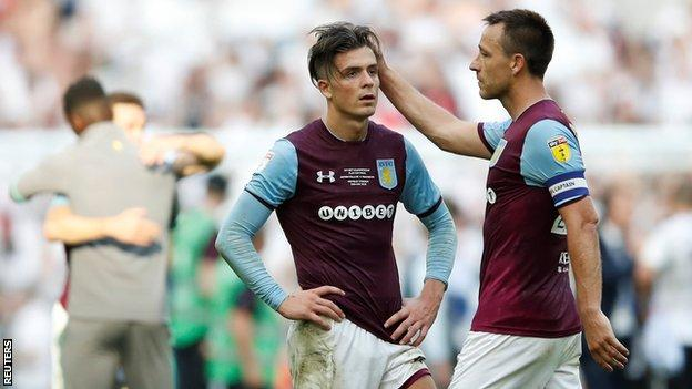 John Terry consoles Aston Villa team-mate Jack Grealish after the final whistle