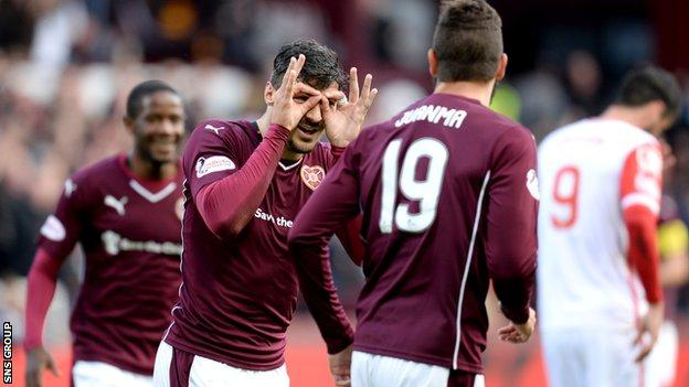Callum Paterson celebrates his powerful strike at Tynecastle