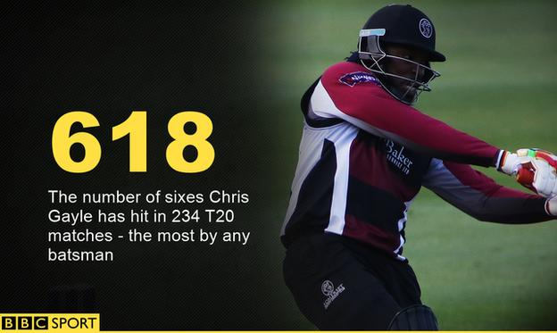 Chris Gayle sixes info