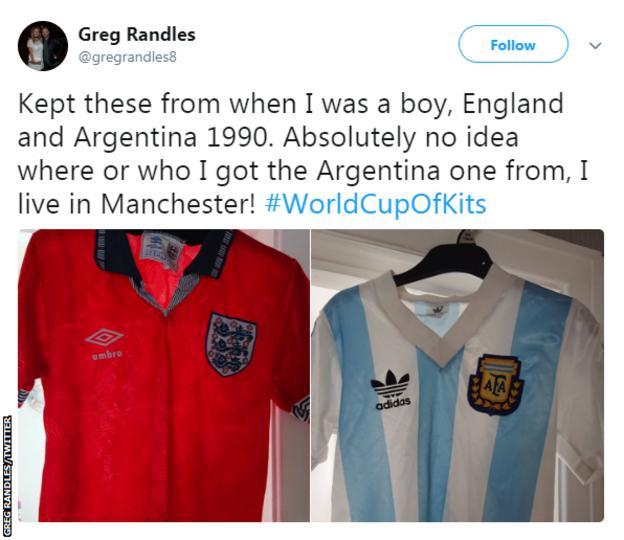 England 1990 away and Argentina 1990 kits