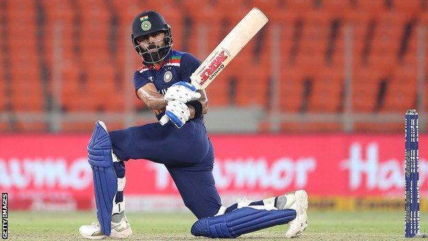 India T20 captain Virat Kohli plays a shot
