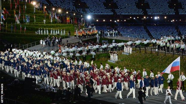 Russia team at London 2012 Opening Ceremony