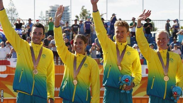 Australia win gold in mixed team triathlon